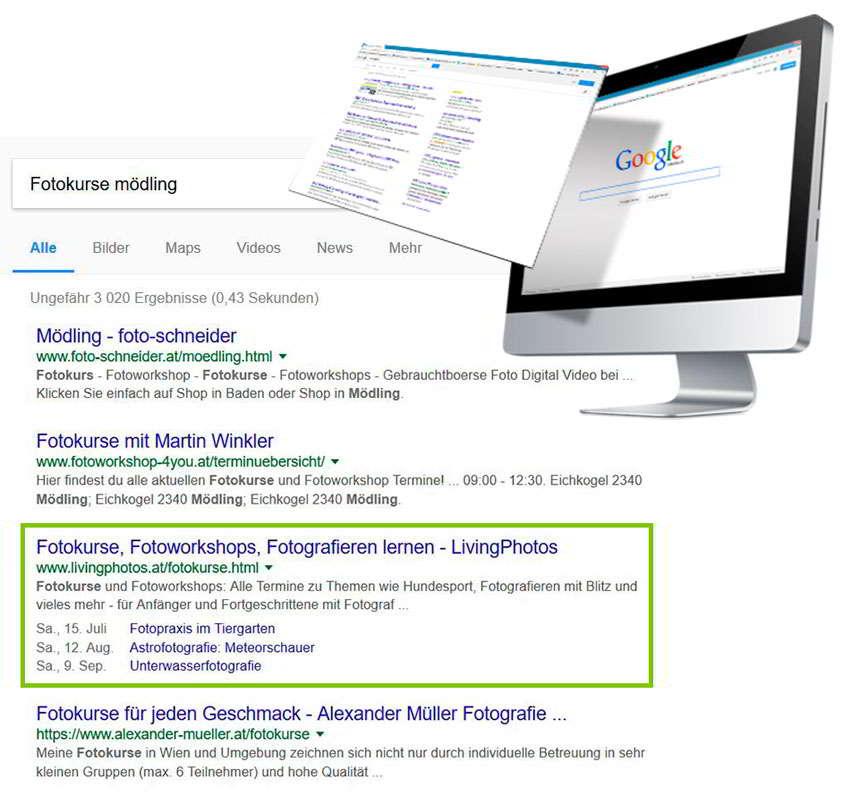 Durch SEO in Google weiter oben positionieren und attraktiv gestalten